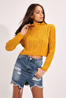 I Saw It First Mustard Cable Knit Funnel Neck Crop Jumper