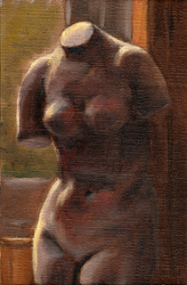Oil painting of a female torso plaster cast beside a window.