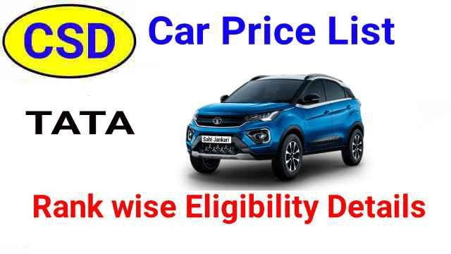 CSD Car Price List Tata BS6 after New Car Policy Lucknow