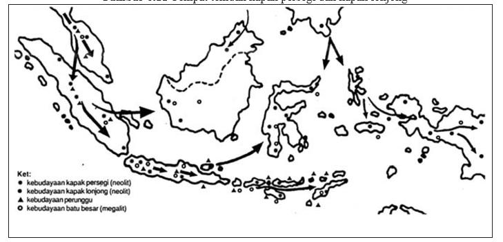 Peta Persebaran Manusia Purba Kebudayaannya Guru Kapak Persegi Lonjong Kebudayaan