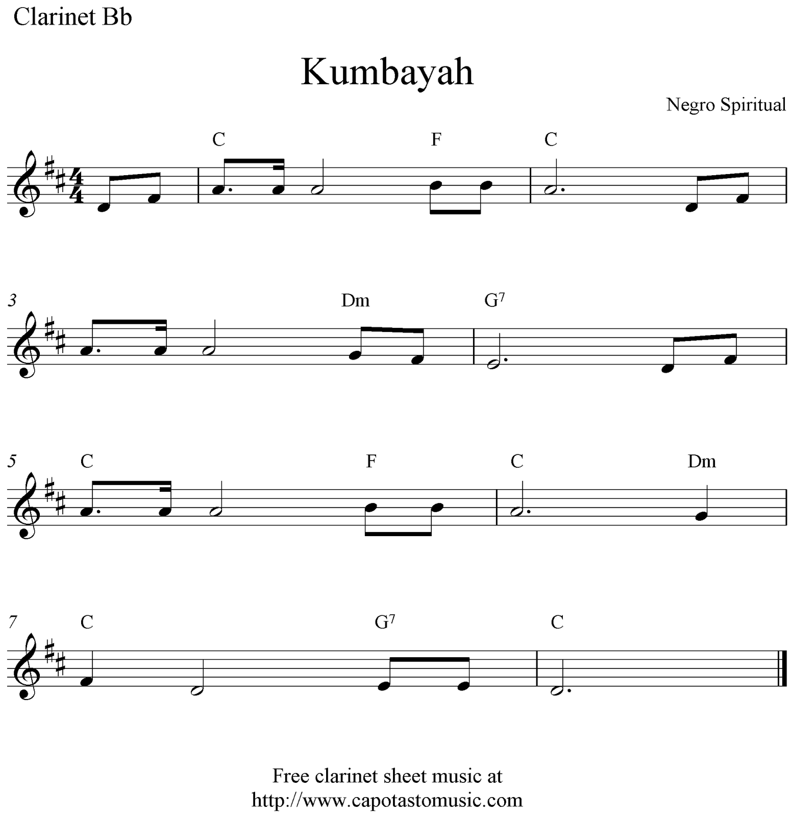 Free Easy Clarinet Sheet Music, Kumbayah