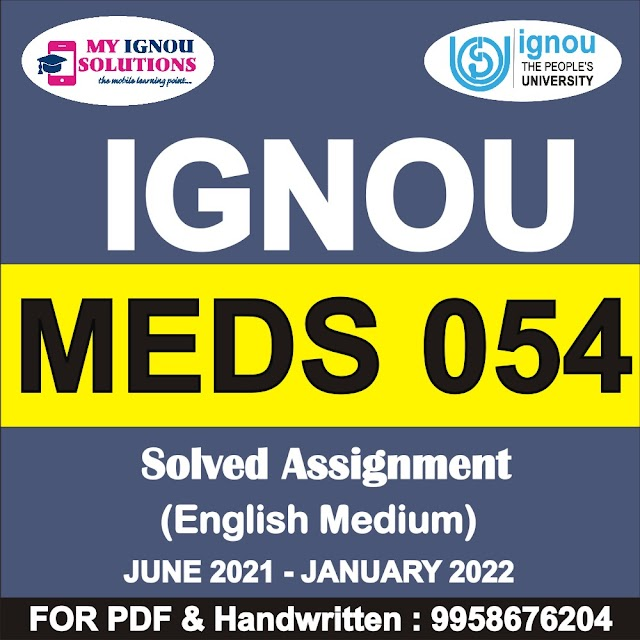 MEDS 054 Solved Assignment 2021-22