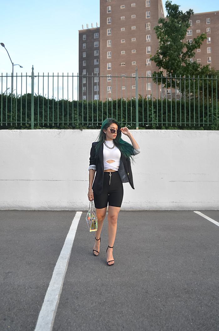 glam look with biker shorts white and black outfit