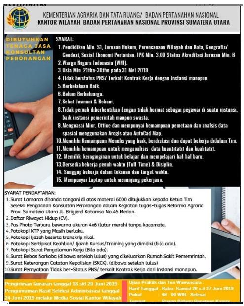 Penerimaan Tenaga Konsultan Perorangan Kantor Wilayah Badan Pertanahan Nasional Provinsi Sumatera Utara