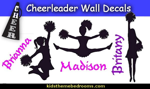 Cheerleader Wall Decals Cheer Megaphone Cheerleader Sports Girl Gymnastic Kids  wall stickers