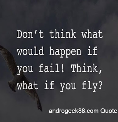 Don't think what would happen if you fail! Think, what if you fly?