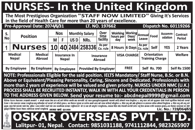 Jobs in UK for Nepali, Salary Rs 2,58,336