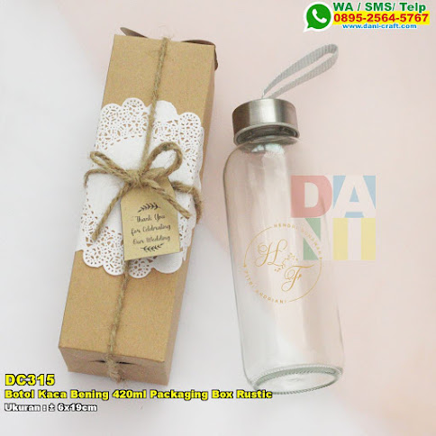 Botol Kaca Bening 420ml Packaging Box Rustic