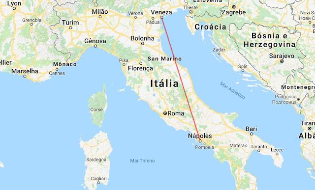 Mapa da viagem de Veneza a Nápoles