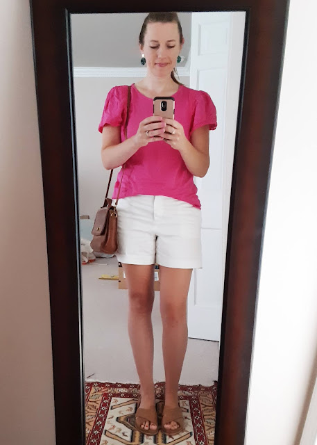 bright summer outfit, bright pink top outfit, Catholic fashion, mom summer outfit, pink and white outfit
