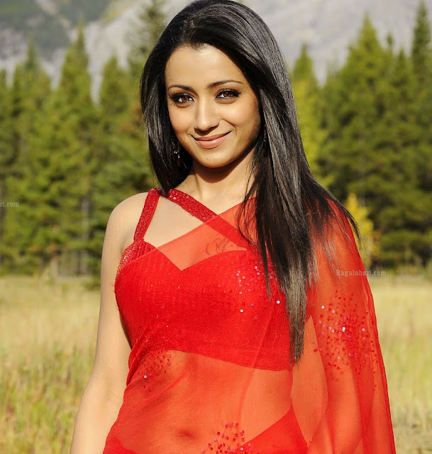 trisha hot navel show red saree photo shoot stills