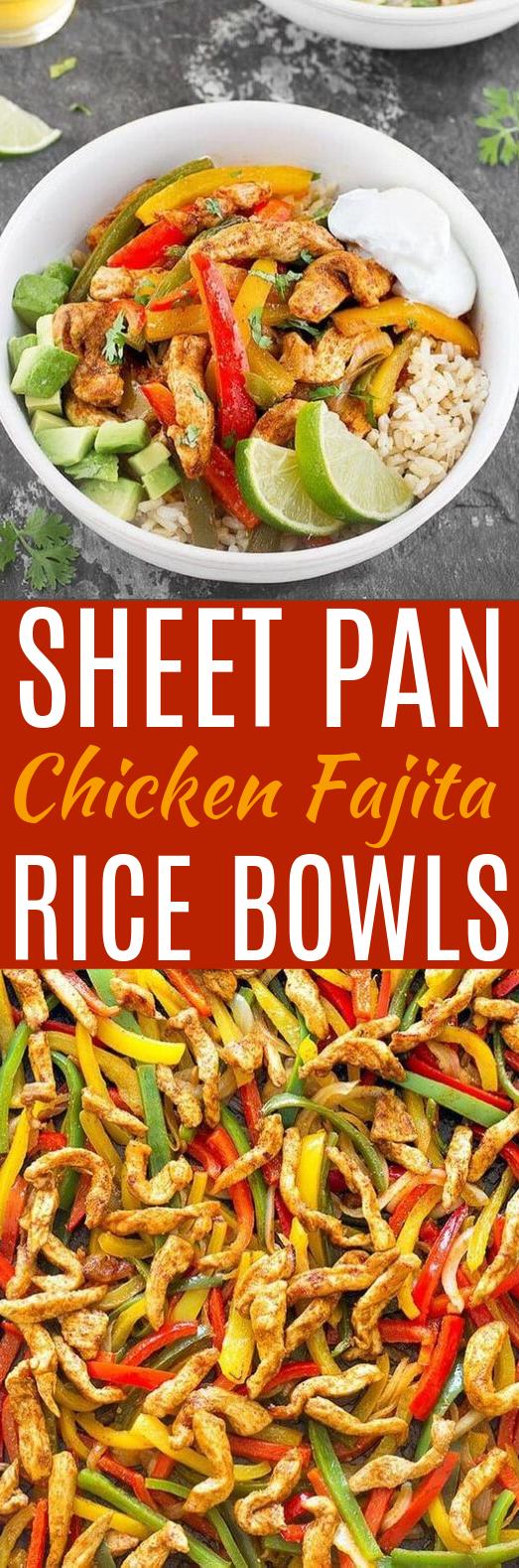 Sheet Pan Chicken Fajita Rice Bowls #dinner #chicken