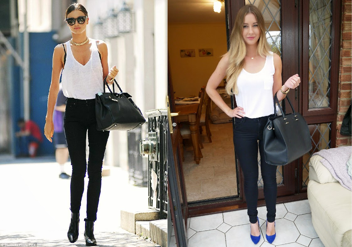 501ace5f33 ... Michael Kors MAIN Outfit Inspired by Miranda Kerr. Wearing MS vest top  Topshop jeans Zara heels HM bag ...