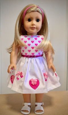 Doll clothes dress for Valentine's day with applique hearts by valspierssews