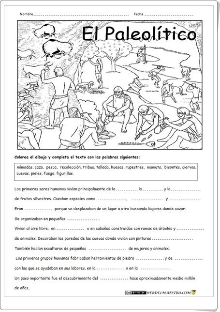 """""""El Paleolítico"""" (Ficha de Historia de Primaria)"""