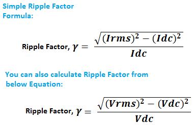 Ripple Factor Formula, Equation, Calculation. Formula of Ripple Factor