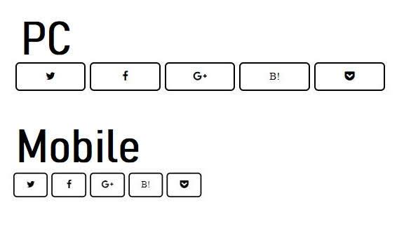 Blogger用黒枠モノトーンSNSボタン(PC / Mobile版)