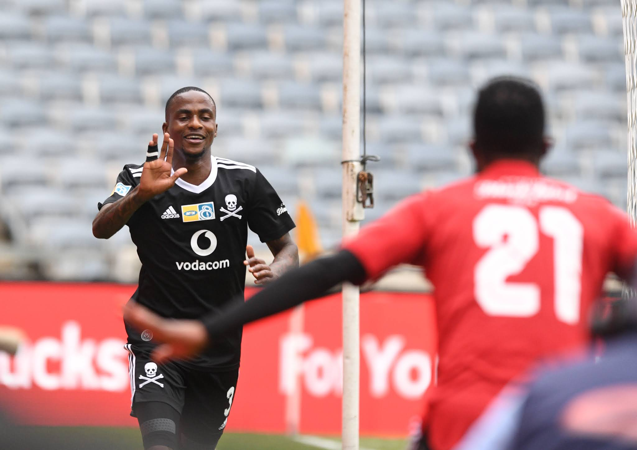 Thembinkosi Lorch celebrates his goal against bitter rivals Kaizer Chiefs last Saturday