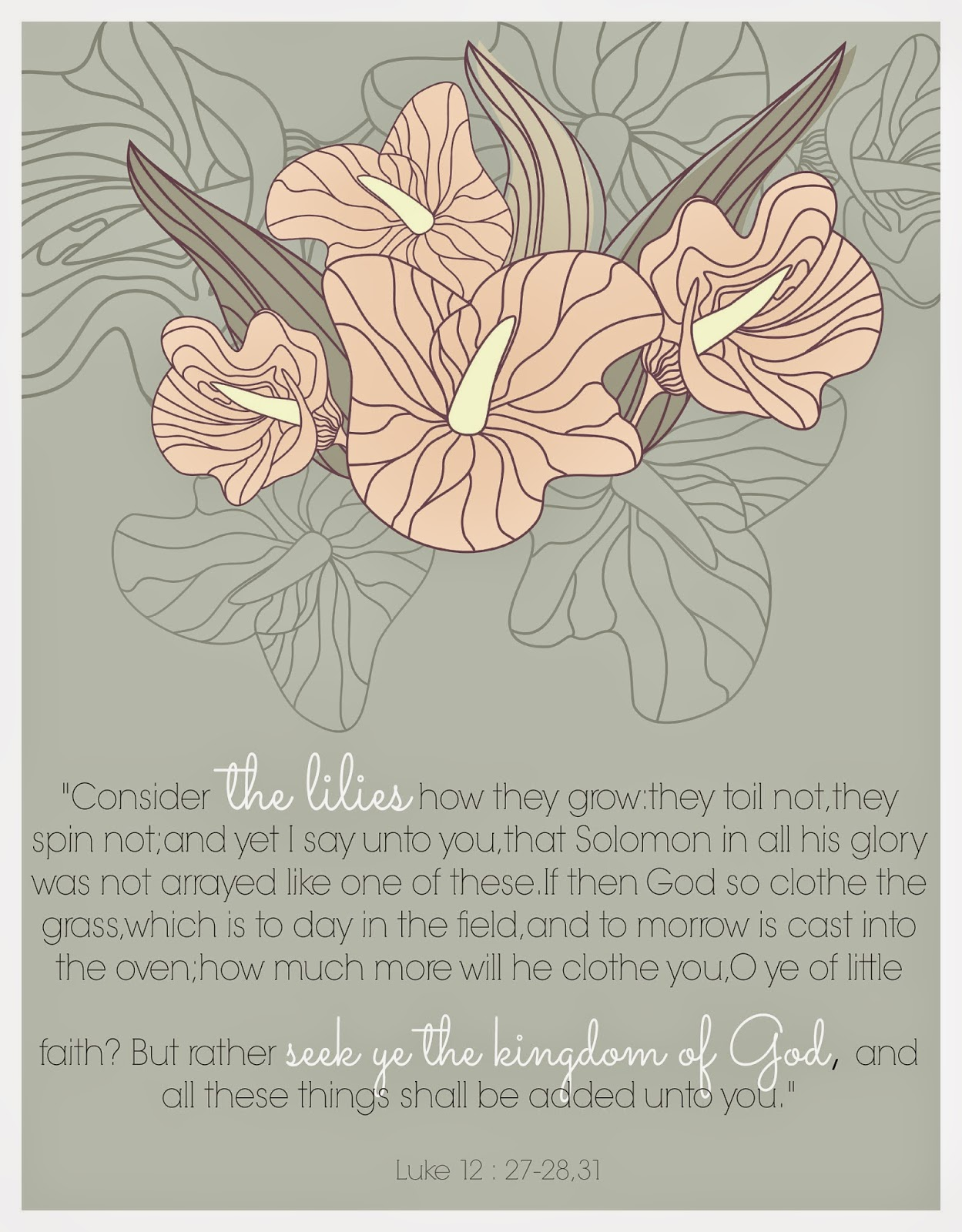 "Free ""Consider the Lilies"" printable."