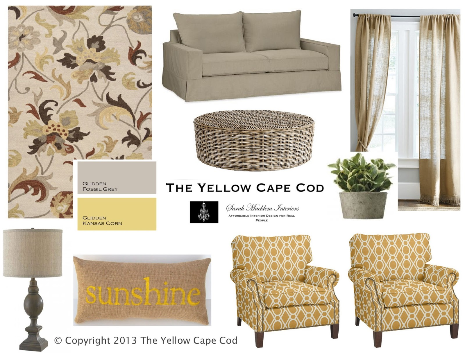 The Yellow Cape Cod Warm Gray And Sunny Yellow Living Room