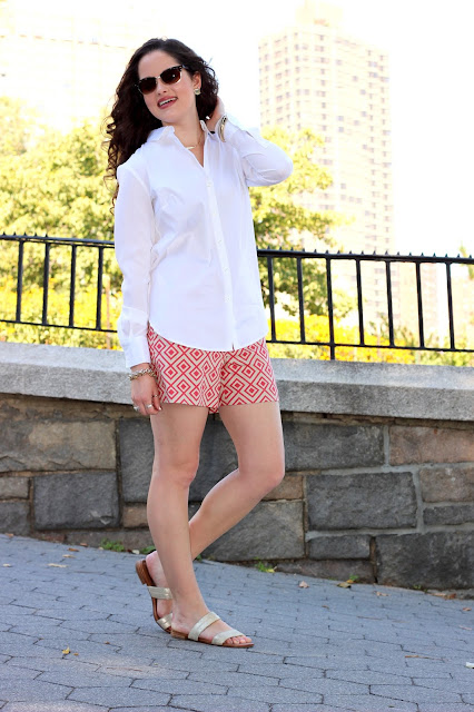 Nyc fashion blogger Kathleen Harper wearing a white button-down with shorts