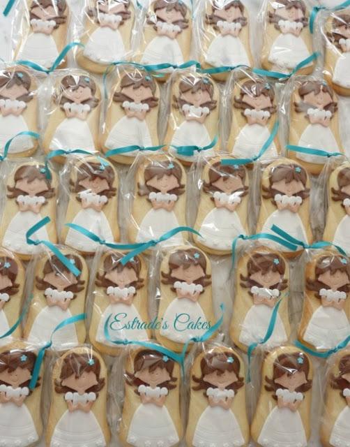 galletas de niñas de primera comunión embolsadas