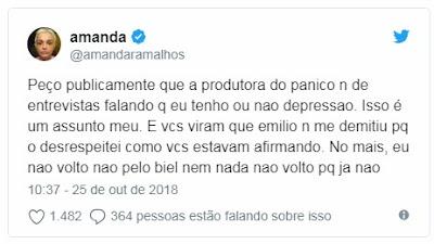 Amanda Ramalho nao volta pro Panico