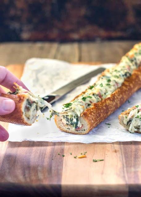 Feta Spínach Stuffed French Bread