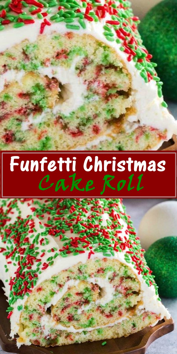 Funfetti Christmas Cake Roll Recipe #cakerecipes