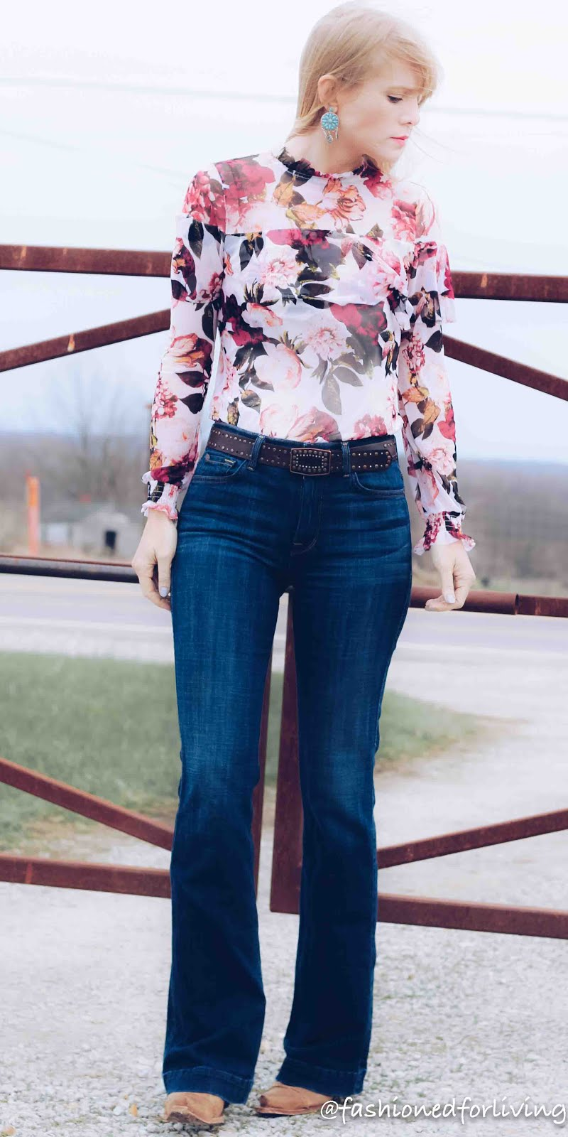 fashioned for living floral top with trouser jeans and
