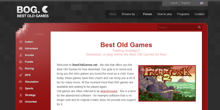 Best of Old Games - tempat download game PC lawas