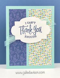 Stampin' Up! So Sentimental Card ~ Pattern Party Host Paper ~ 1 Card Layout, 4 Cards ~ www.juliedavison.com #stampinup