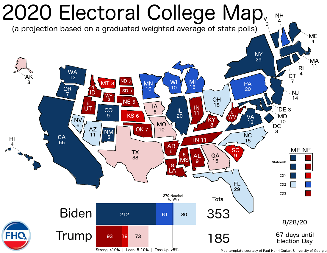 Frontloading Hq The Electoral College Map 8 28 20