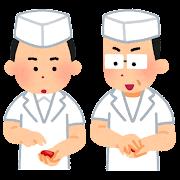 寿司の握り方を教える人のイラスト