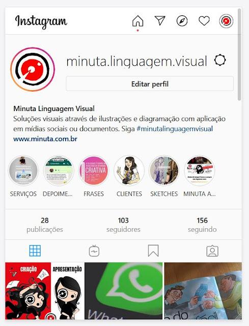 Exemplo de aplicação de logotipo no Instagram Minuta Linguagem Visual