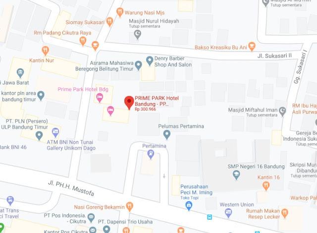 Map Letak Hotel Prime Park Bandung