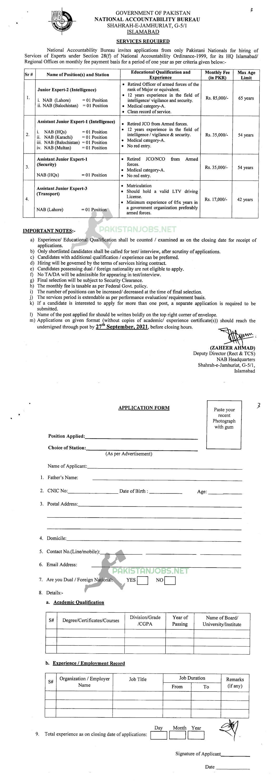 National Accountability Bureau NAB Islamabad Jobs 2021