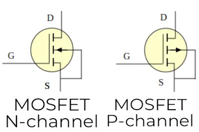 simbol mosfet n-channel dan p-channel