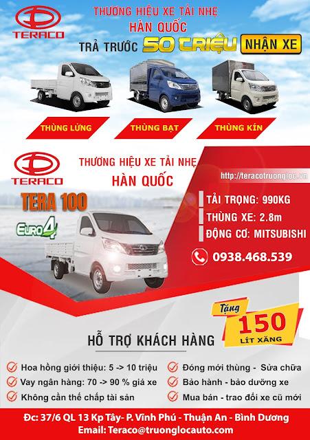 Giá xe tải nhẹ 990kg Tera100 tải 1 tấn thùng 2,8m km trước bạ