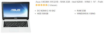 laptop asus 14 inchi murah x453ma putih