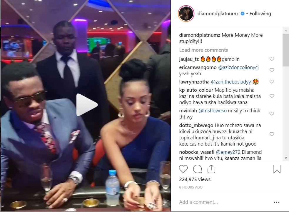 More Money More Stupidity. Diamond Platinumz Says As He Gambles In Casino