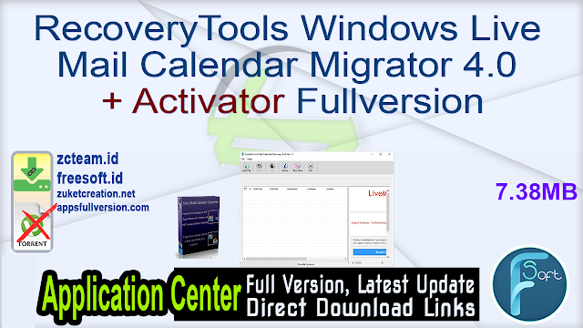 RecoveryTools Windows Live Mail Calendar Migrator 4.0 + Activator Fullversion