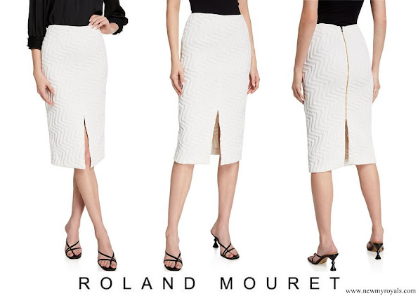 Meghan Markle wore Roland Mouret Moka Chevron Puckered Skirt