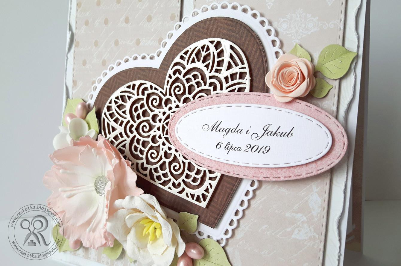 Kartka na ślub z ażurowym sercem