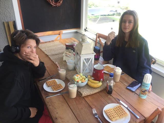 Lazy family brunch with toaster waffles