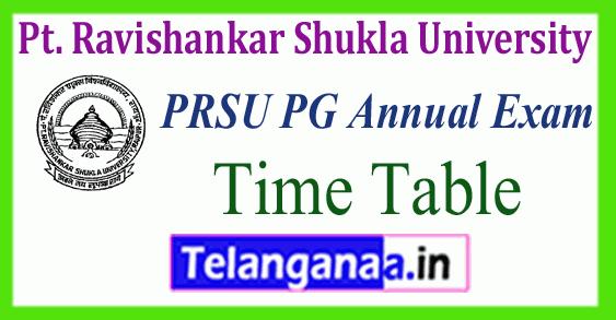 PRSU Pt. Ravishankar Shukla University MA M.Sc M.Com Time Table