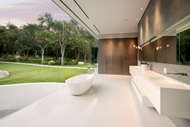 Picture of the modern minimalist bathroom with glass wall