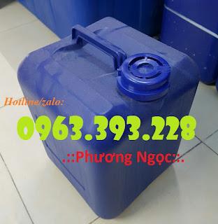 Can nhựa đựng hóa chất, can nhựa HDPE, can có nắp chống tràn 20L