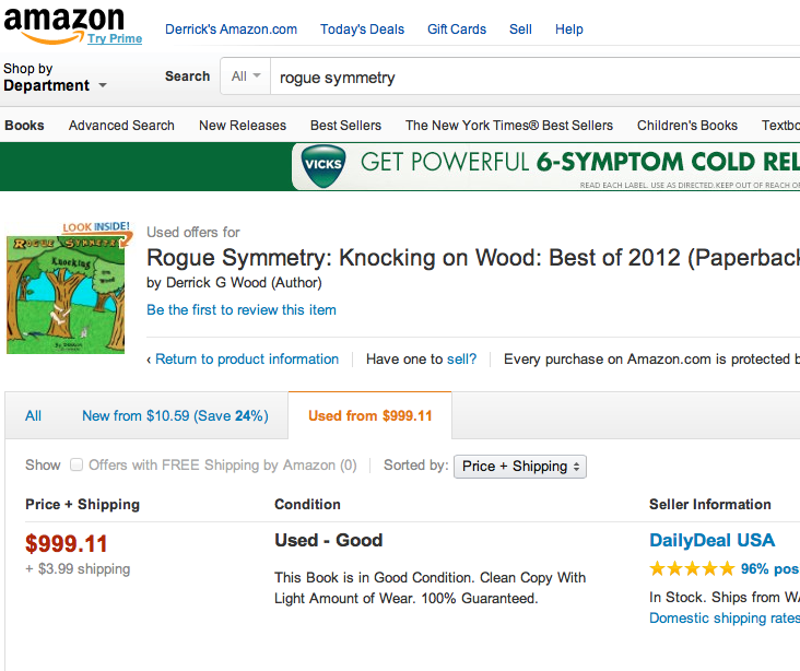 Rogue Symmetry book knocking on wood on amazon cheap? used?