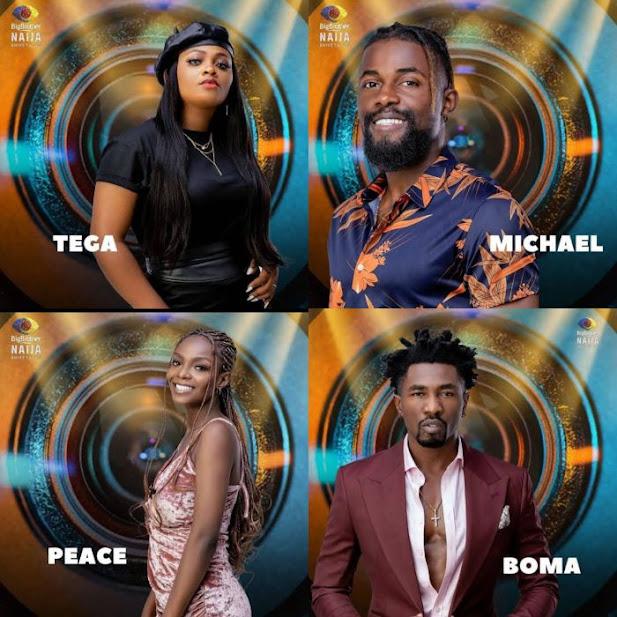 Evicted Big Brother Naija housemates, Tega, Michael, Peace and Boma